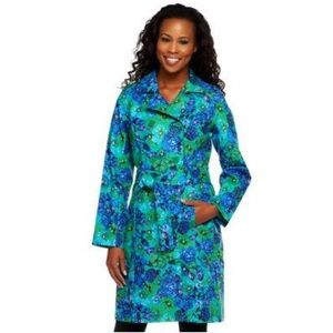 NWT Isaac Mizrahi Live floral trench coat